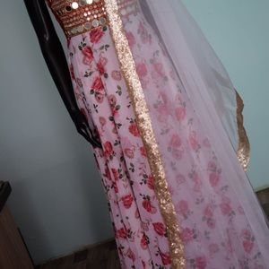 Get red mirror work anarkali
